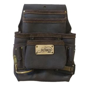 OX Pro 10-Pocket Tool/Fastener Pouch, Oil-Tanned Leather
