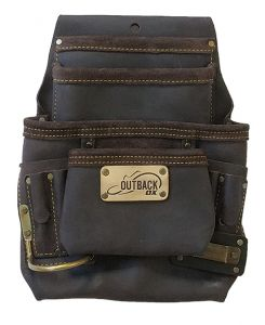 10-POCKET TOOL/FASTENER POUCH   OIL-TANNED LEATHER