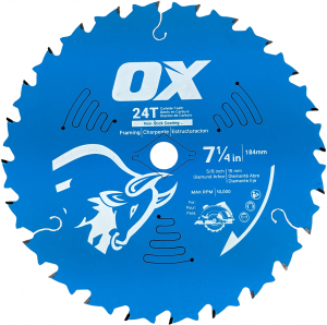 OX PRO WOOD CUTTING 24-TOOTH COATED SAW BLADE